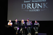 (L-R) Maria Blasucci, Colin Hanks, Evan Rachel Wood, Jack McBrayer, and Bennie Arthur speak onstage during the 'Drunk History' Live Reading Event at The Montalban on August 15, 2019 in Hollywood, California.