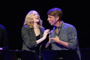 (L-R) Evan Rachel Wood and Jack McBrayer speak onstage during the 'Drunk History' Live Reading Event at The Montalban on August 15, 2019 in Hollywood, California.