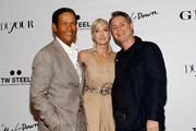 (L-R) Bryant Gumbel, Hilary Quinlan, and Founder of DuJour Media Group Jason Binn attend a DuJour Magazine celebration of 12 seasons of REAL TIME with Bill Maher at UP&DOWN presented by GILT and TW STEEL on June 23, 2014 in New York City.