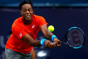 Gael Monfils of France in action against Stefanos Tsitsipas of Greece during in his men's semi final match on day thirteen of the Dubai Duty Free Tennis Championships  at Dubai Duty Free Tennis Stadium March 01, 2019 in Dubai, United Arab Emirates.