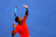Gael Monfils of France serves during day twelve of the ATP Dubai Duty Free Tennis Championships at Dubai Duty Free Tennis Stadium on February 28, 2019 in Dubai, United Arab Emirates.