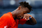 Gael Monfils of France reacts during day twelve of the ATP Dubai Duty Free Tennis Championships at Dubai Duty Free Tennis Stadium on February 28, 2019 in Dubai, United Arab Emirates.