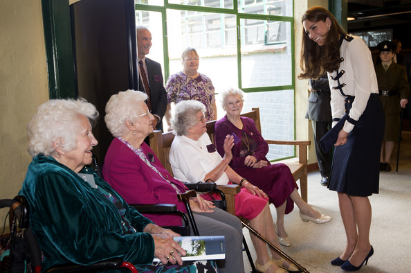 Catherine, Duchess Of Cambridge meets veterans Peggy Huntington, Joan Joslin Iris King and Alma Wightman as she tours the of the restored WWII Codebreaking Huts at Bletchley Park on June 18, 2014 in Bletchley, England. The pre-fabricated wooden huts that housed the secret Government code breaking school during WWII, where encrypted messages sent by the Navy, Army and Air Forces of Germany and its allies were decrypted, translated and analysed for vital intelligence, have undergone a year long restoration.