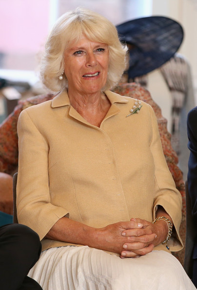 Camilla, Duchess of Cornwall watches as fashion show at the Fashion Festival in the Assembly Rooms on July 22, 2014 in Edinburgh, Scotland.