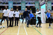 Prince William, Duke of Cambridge takes part in football drills sessions during the graduation ceremony of 30 Young Peace Leaders from Football for Peace's UK City for Peace programme at Copper Box Arena on November 22, 2018 in London, England.
