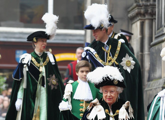 Queen Elizabeth II Princess Anne The Duke Of Cambridge Is Installed As A Knight Of The Thistle