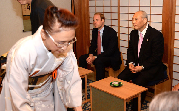 Prince William, Duke of Cambridge takes part in a traditional tea ceremony in Hama Rikyu Gardens on the first day of his visit to Japan on February 26, 2015 ino Tokyo, Japan. The Duke of Cambridge is visiting Japan from February 26th to March 1st 2015.