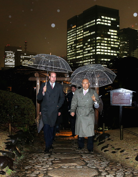 Prince William, Duke of Cambridge leaves a tea ceremony in Hama Rikyu Gardens with Tokyo Governor Yoichi Masuzoe on the first day of his visit to Japan on February 26, 2015 ino Tokyo, Japan. The Duke of Cambridge is visiting Japan from February 26th to March 1st 2015.