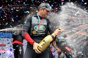 Sir Ben Ainslie Celebrates victory with team Land Rover BAR at the America's Cup World Series on July 24, 2016 in Portsmouth, England.