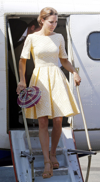 Catherine, Duchess of Cambridge arrives at Honiara International airport after flying from Marau before heading to Tuvalu on their Diamond Jubilee tour of the Far East on September 18, 2012 in Honiara, Guadalcanal Island. Prince William, Duke of Cambridge and Catherine, Duchess of Cambridge are on a Diamond Jubilee tour representing the Queen taking in Singapore, Malaysia, the Solomon Islands and Tuvalu.