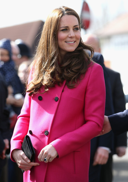 Catherine, Duchess of Cambridge arrives at the XLP Mobile recording Studio on March 27, 2015 in London, England.