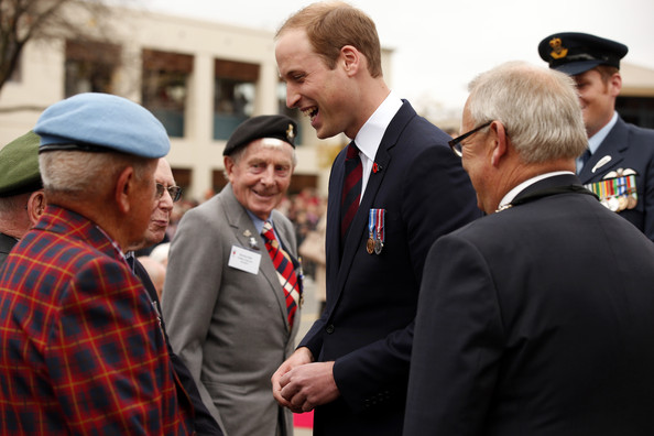 Prince William, Duke of Cambridge speaks with veterans at a ceremony at the war memorial in Seymour Square on April 10, 2014 in the town of Blenheim, New Zealand. The Duke and Duchess of Cambridge are on a three-week tour of Australia and New Zealand, the first official trip overseas with their son, Prince George of Cambridge.
