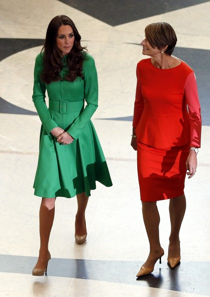 Catherine, Duchess of Cambridge is accompanied by Margie Abbott, wife of Prime Minister Tony Abbott, as they arrive for a reception hosted by the Prime Minister of Australia at Parliament House on April 24, 2014 in Canberra, Australia. The Duke and Duchess of Cambridge are on a three-week tour of Australia and New Zealand, the first official trip overseas with their son, Prince George of Cambridge.