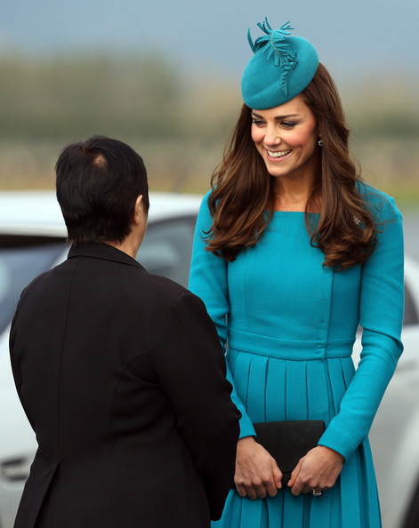 Catherine, Duchess of Cambridge at the official greeting at Dunedin International Airport on April 13, 2014 in Dunedin, New Zealand. The Duke and Duchess of Cambridge are on a three-week tour of Australia and New Zealand, the first official trip overseas with their son, Prince George of Cambridge.