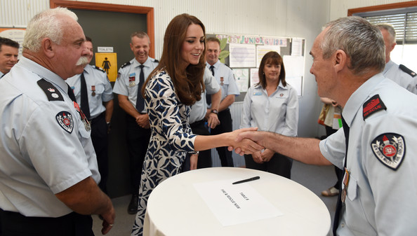 Catherine, Duchess of Cambridge meets with emergency services personnel at Winmalee, an area in the Blue Mountains heavily affected by bushfires last year, on April 17, 2014 in Winmalee, Australia. The Duke and Duchess of Cambridge are on a three-week tour of Australia and New Zealand, the first official trip overseas with their son, Prince George of Cambridge.