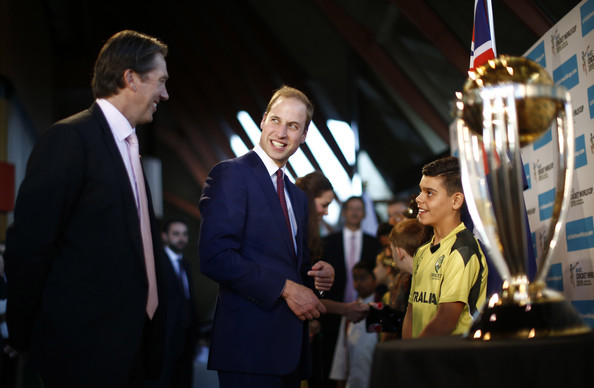 Prince William, Duke of Cambridge and former Australian cricketer Glenn McGrath attend a 2015 cricket world cup reception at the Sydney Opera House, on April 16, 2014 in Sydney, Australia. The Duke and Duchess of Cambridge are on a three-week tour of Australia and New Zealand, the first official trip overseas with their son, Prince George of Cambridge.