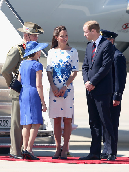 Prince William, Duke of Cambridge and Catherine , Duchess of Cambridge arrive at the Royal Australian Airforce Base at Amberley on April 19, 2014 in Brisbane, Australia. The Duke and Duchess of Cambridge are on a three-week tour of Australia and New Zealand, the first official trip overseas with their son, Prince George of Cambridge.
