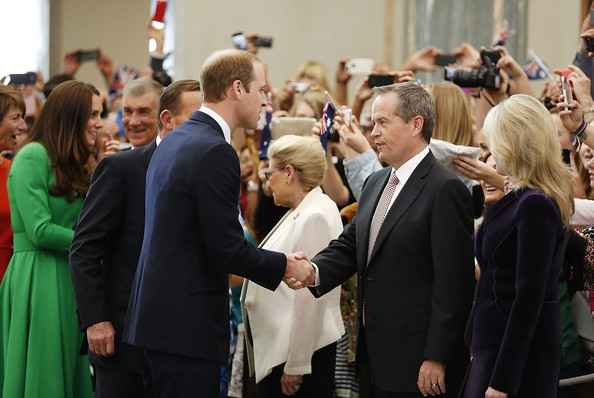 Prince William, Duke of Cambridge is greeted by the leader of the opposition Bill Shorten in the Marble Hall at Parliament House on April 24, 2014 in Canberra, Australia. The Duke and Duchess of Cambridge are on a three-week tour of Australia and New Zealand, the first official trip overseas with their son, Prince George of Cambridge.