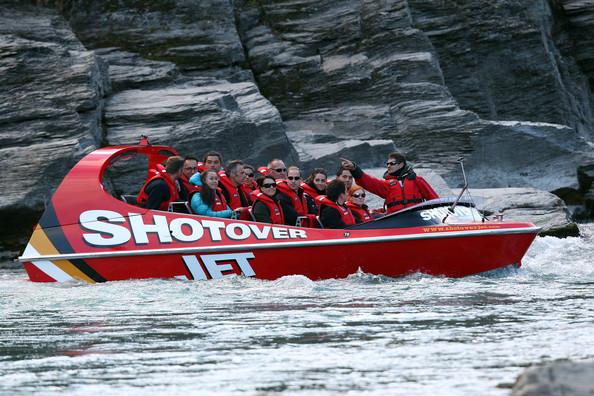Prince William, Duke of Cambridge and Catherine, Duchess of Cambridge on the Shotover Jet on April 13, 2014 in Queenstown, New Zealand. The Duke and Duchess of Cambridge are on a three-week tour of Australia and New Zealand, the first official trip overseas with their son, Prince George of Cambridge.