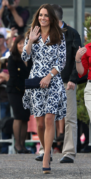 Catherine, Duchess of Cambridge arrives at Echo Point in the Blue Mountains to visit 'The Three Sisters' on April 17, 2014 in Katoomba, Australia. The Duke and Duchess of Cambridge are on a three-week tour of Australia and New Zealand, the first official trip overseas with their son, Prince George of Cambridge.