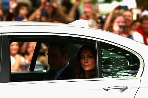 Prince William, Duke of Cambridge (L) and Catherine, Duchess of Cambridge (R) arrive at the Cambridge Town Hall on April 12, 2014 in Cambridge, New Zealand. The Duke and Duchess of Cambridge are on a three-week tour of Australia and New Zealand, the first official trip overseas with their son, Prince George of Cambridge.