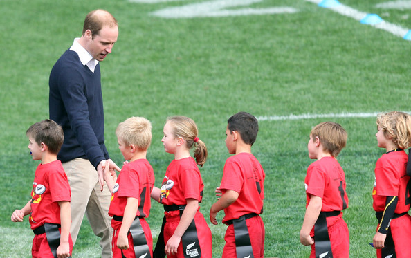 Prince William, Duke of Cambridge congratulates the junior rippa rugby players at Forsyth Barr Stadium, Dunedin on April 13, 2014 in Dunedin, New Zealand. The Duke and Duchess of Cambridge are on a three-week tour of Australia and New Zealand, the first official trip overseas with their son, Prince George of Cambridge.