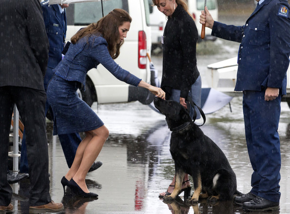Catherine, Duchess of Cambridge pats a police dog during a visit to the Royal New Zealand Police College on April 16, 2014 in Wellington, New Zealand. The Duke and Duchess of Cambridge are on a three-week tour of Australia and New Zealand, the first official trip overseas with their son, Prince George of Cambridge.