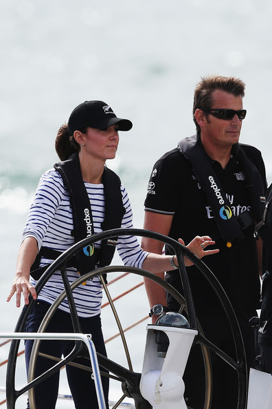 Catherine, Duchess of Cambridge races with Team New Zealand skipper Dean Barker during a match race on the Waitemata Harbour on April 11, 2014 in Auckland, New Zealand. The Duke and Duchess of Cambridge are on a three-week tour of Australia and New Zealand, the first official trip overseas with their son, Prince George of Cambridge.