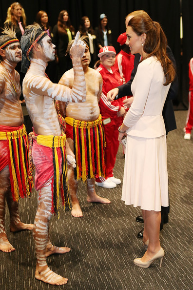 Catherine, Duchess of Cambridge speaks to performers at the youth community centre, The Northern Sound System, in Elizabeth on April 23, 2014 in Adelaide, Australia. The Duke and Duchess of Cambridge are on a three-week tour of Australia and New Zealand, the first official trip overseas with their son, Prince George of Cambridge.