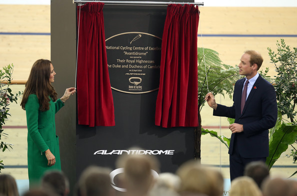 Catherine, Duchess of Cambridge and  Prince William, Duke of Cambridge unveil the plaque at new National Cycling Centre of Excellence and Velodrome on April 12, 2014 in Cambridge, New Zealand. The Duke and Duchess of Cambridge are on a three-week tour of Australia and New Zealand, the first official trip overseas with their son, Prince George of Cambridge.