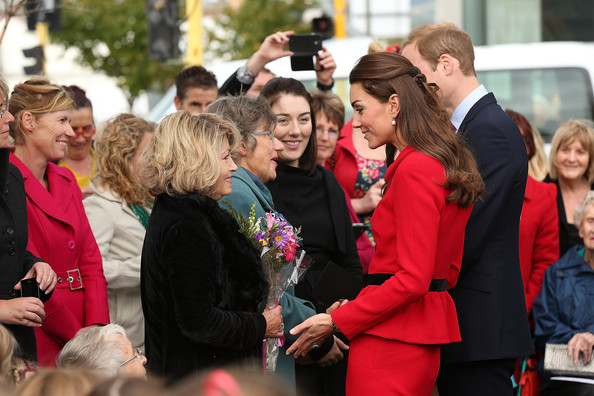 Catherine, Duchess of Cambridge speaks to families who lost loved ones in the 2011 quake during visit to the CTV memorial site on April 14, 2014 in Christchurch, New Zealand. The Duke and Duchess of Cambridge are on a three-week tour of Australia and New Zealand, the first official trip overseas with their son, Prince George of Cambridge.