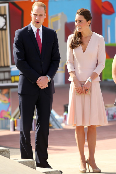Prince William, Duke of Cambridge and Catherine, Duchess of Cambridge are shown through the skate park in Elizabeth on April 23, 2014 in Adelaide, Australia. The Duke and Duchess of Cambridge are on a three-week tour of Australia and New Zealand, the first official trip overseas with their son, Prince George of Cambridge.