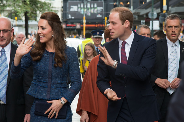 Catherine, Duchess of Cambridge and Prince William, Duke of Cambridge wave to the public during a walk about in Civic Square on April 16, 2014 in Wellington, New Zealand. The Duke and Duchess of Cambridge are on a three-week tour of Australia and New Zealand, the first official trip overseas with their son, Prince George of Cambridge.