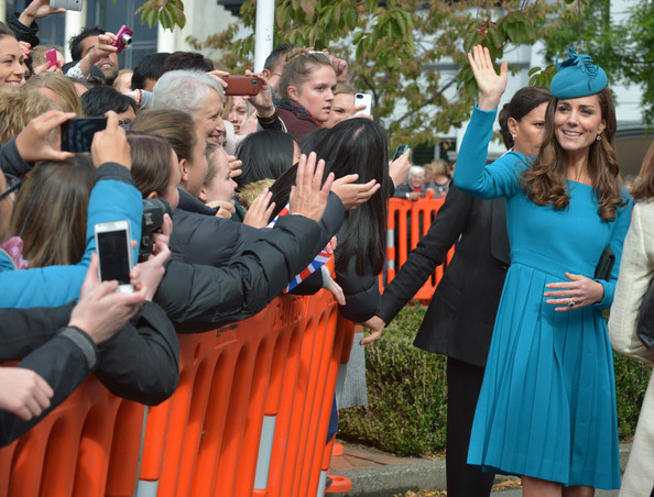 Catherine, Duchess of Cambridge greets members of the public after attending a Palm Sunday service at St. Paul's Anglican Cathedral on April 13, 2014 in Dunedin, New Zealand. The Duke and Duchess of Cambridge are on a three-week tour of Australia and New Zealand, the first official trip overseas with their son, Prince George of Cambridge.
