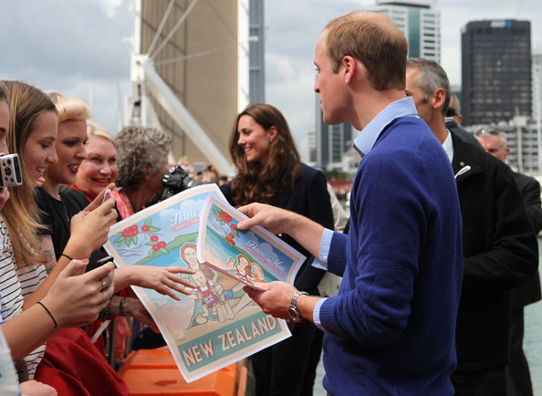 Prince William, Duke of Cambridge and Catherine, Duchess of Cambridge arrive to the Viaduct Basin to sail with Team New Zealand on April 11, 2014 in Auckland, New Zealand. The Duke and Duchess of Cambridge are on a three-week tour of Australia and New Zealand, the first official trip overseas with their son, Prince George of Cambridge.