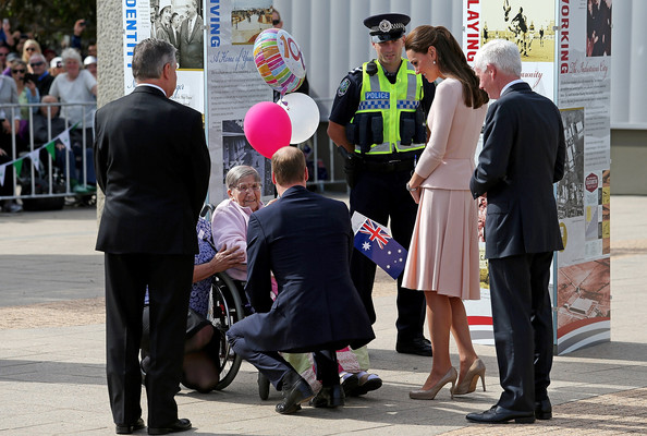 Prince William, Duke of Cambridge and Catherine, Duchess of Cambridge greets 100 year old Monica Swarbrick out front of the Playford Civic Centre on April 23, 2014 in Adelaide, Australia. The Duke and Duchess of Cambridge are on a three-week tour of Australia and New Zealand, the first official trip overseas with their son, Prince George of Cambridge.