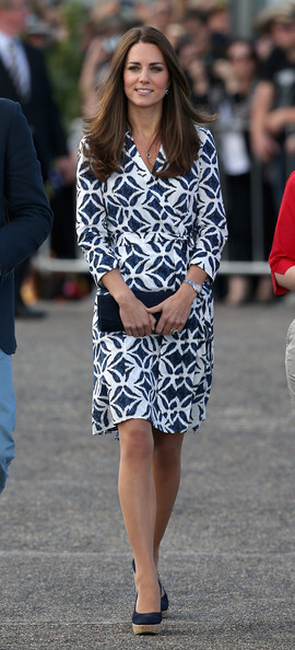 Catherine, Duchess of Cambridge arrives at Echo Point in the Blue Mountains on April 17, 2014 in Katoomba, Australia. The Duke and Duchess of Cambridge are on a three-week tour of Australia and New Zealand, the first official trip overseas with their son, Prince George of Cambridge.