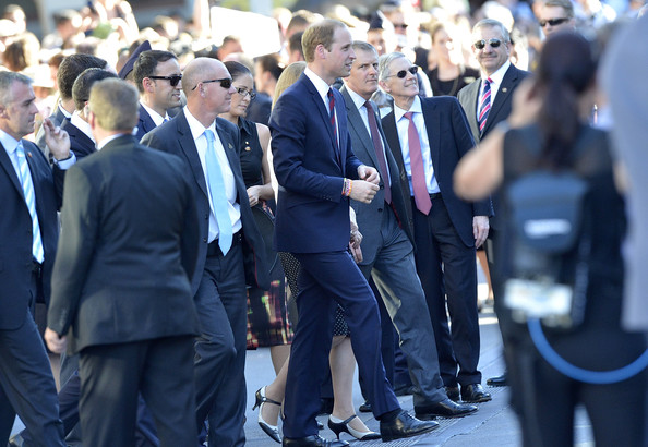 Prince William, Duke of Cambridge is seen surrounded by security as he meets well wishers on April 19, 2014 in Brisbane, Australia. The Duke and Duchess of Cambridge are on a three-week tour of Australia and New Zealand, the first official trip overseas with their son, Prince George of Cambridge.
