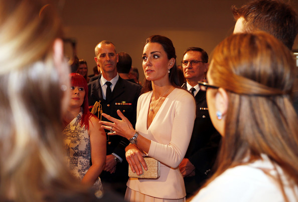 Catherine, Duchess of Cambridge talks to community officials with her husband Prince William, Duke of Cambridge, at the Playford Civic Centre in the Adelaide suburb of Elizabeth on April 23, 2014 in Adelaide, Australia. The Duke and Duchess of Cambridge are on a three-week tour of Australia and New Zealand, the first official trip overseas with their son, Prince George of Cambridge.