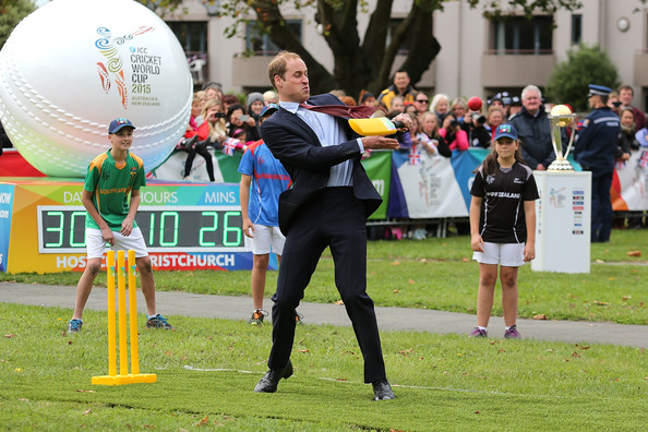 Prince William, Duke of Cambridge plays a game of cricket during a visit to Latimer Square on April 14, 2014 in Christchurch, New Zealand. The Duke and Duchess of Cambridge are on a three-week tour of Australia and New Zealand, the first official trip overseas with their son, Prince George of Cambridge.