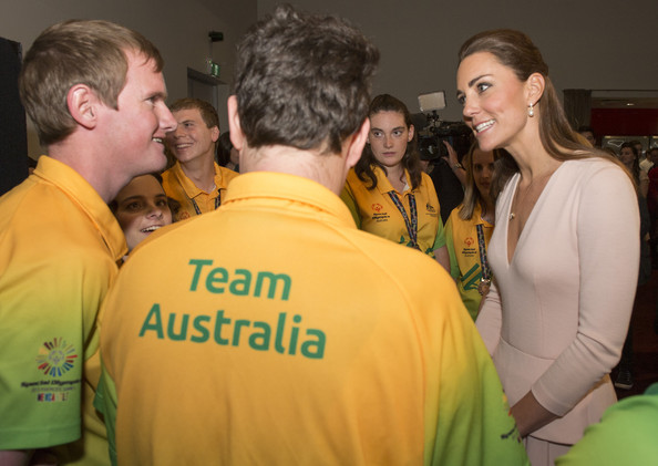 Catherine, Duchess of Cambridge meets members of the Special Olympics Australia team on April 23, 2014 in Adelaide, Australia. The Duke and Duchess of Cambridge are on a three-week tour of Australia and New Zealand, the first official trip overseas with their son, Prince George of Cambridge.