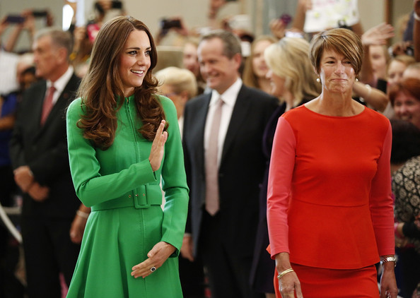 Catherine, the Duchess of Cambridge is accompanied by Mrs Margie Abbott through the Marble Hall at Parliament House on April 24, 2014 in Canberra, Australia. The Duke and Duchess of Cambridge are on a three-week tour of Australia and New Zealand, the first official trip overseas with their son, Prince George of Cambridge.
