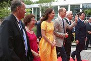 Gerlinde Kretschmann, Catherine, Duchess of Cambridge, Prince William, Duke of Cambridge, Minister-President of Baden-Wuerttemberg, Winfried Kretschmann and Prof. Dr. Michael Baumann arrive for a visit of the German Cancer Research Center on the second day of their visit to Germany on July 20, 2017 in Heidelberg, Germany. The Duke and Duchess of Cambridge will meet researchers including Nobel Prize winner prof. Dr. Harald zur Hausen, and visit the stem cell research lab. The royal couple are on a three-day trip to Germany that includes visits to Berlin, Hamburg and Heidelberg.