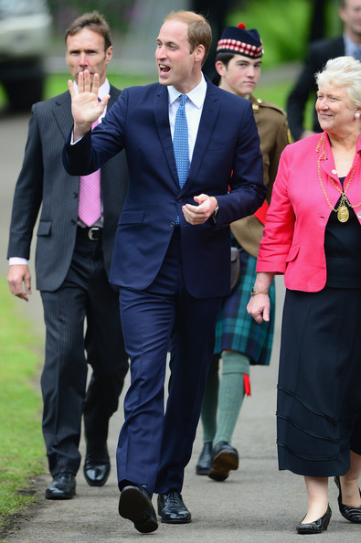Prince William, Duke of Cambridge arrives for a visit to MacRostyy Park on May 29, 2014 in Crieff, Scotland. The Duke and Duchess of Cambridge will spend today in Scotland where they will tour adistillery and visit a village fete.