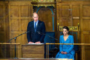 Prince William, Duke of Cambridge and Catherine, Duchess of Cambridge attend the closing ceremony of the General Assembly on May 27, 2021 in Edinburgh, Scotland. The yellow packets in front of the Royal couple are Jelly Babies sweets.
