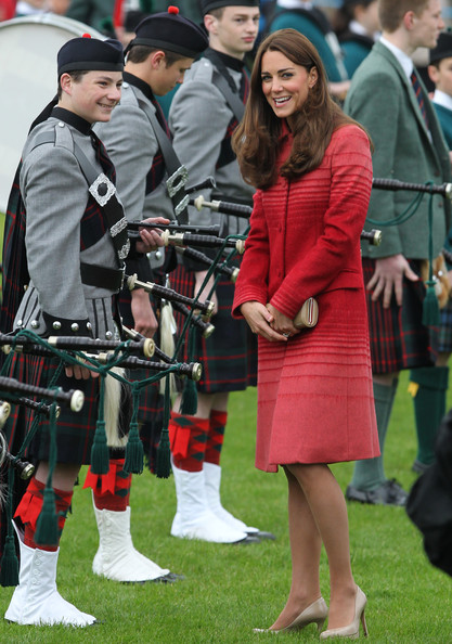 Catherine, Duchess of Cambridge during a  visit to Strathearn Community Campus on May 29, 2014 in Crieff, Scotland. The Duke and Duchess of Cambridge will spend the day in Scotland where they will tour a distillery and visit a village fete.