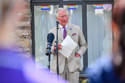 Prince Charles, The Duke of Cornwall gives a speech to care worker as he visits St Austell Healthcare, the Wheal Northey Centre, to recognise and thank staff for their efforts during Covid-19 pandemic on July 21, 2020 in St Austell, England.