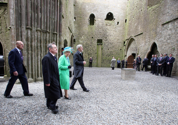 Duke of Edinburgh Queen Elizabeth II and Prince Philip, Duke of Edinburgh visit the nave of the Cathedral at the Rock of Cashel accompanied by Minister for Public Expenditure and Reform Brendan Howlin TD and Dr Eugene Keane on May 20, 2011 in Cashel, Ireland. The Duke and Queen are on a historic four-day tour of the Republic of Ireland amid tight security, the first visit to Ireland by a British monarch since 1911. Republican dissident groups have made it clear they are intent on disrupting proceedings.