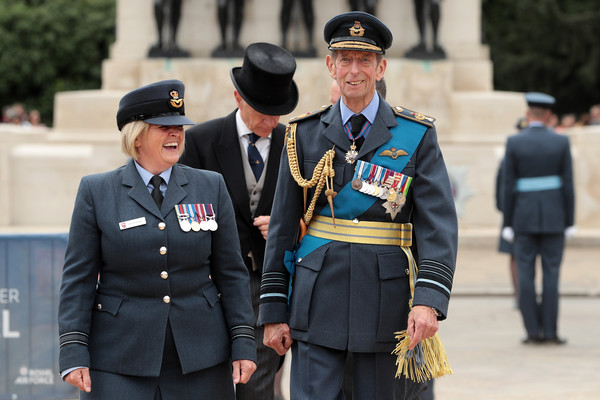 Members Of The Royal Family Attend Events To Mark The Centenary Of The RAF [the royal family attend events to mark the centenary of the raf,military uniform,uniform,military officer,official,police officer,military person,military rank,police,military,security,prince edward,members,place,horse guards parade,kent,england,raf 100,ceremony,parade]