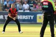 Imran Tahir of Durham (L) makes an appeal for a wicket during the Vitality Blast match between Durham Jets and Yorkshire Vikings at  the Emirates Riverside on July 13, 2018 in Chester-le-Street, England.